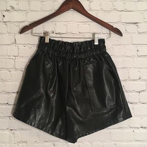 Faux Leather High Waisted Paperbag Shorts
